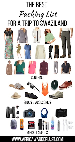 A list of what to pack for Swaziland; Swaziland packing list.