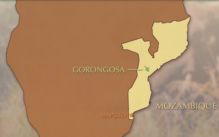 A map of Gorongosa National Park in relation to Maputo in Mozambique
