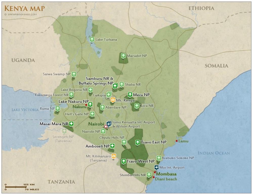 kenya national parks map